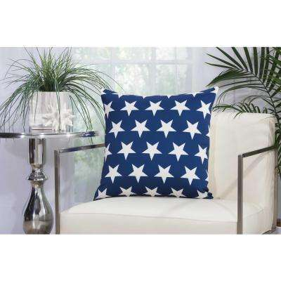 Stars 20 in. Navy and White Indoor and Outdoor Pillow