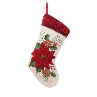 19 in. Polyester/Acrylic Hooked Christmas Stocking with Poinsettia