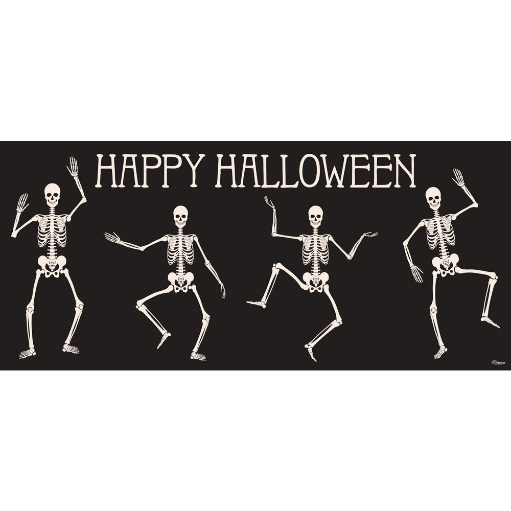 7 ft. x 16 ft. Happy Halloween Skeletons Garage Door Decor Mural for Double Car Garage Car Garage