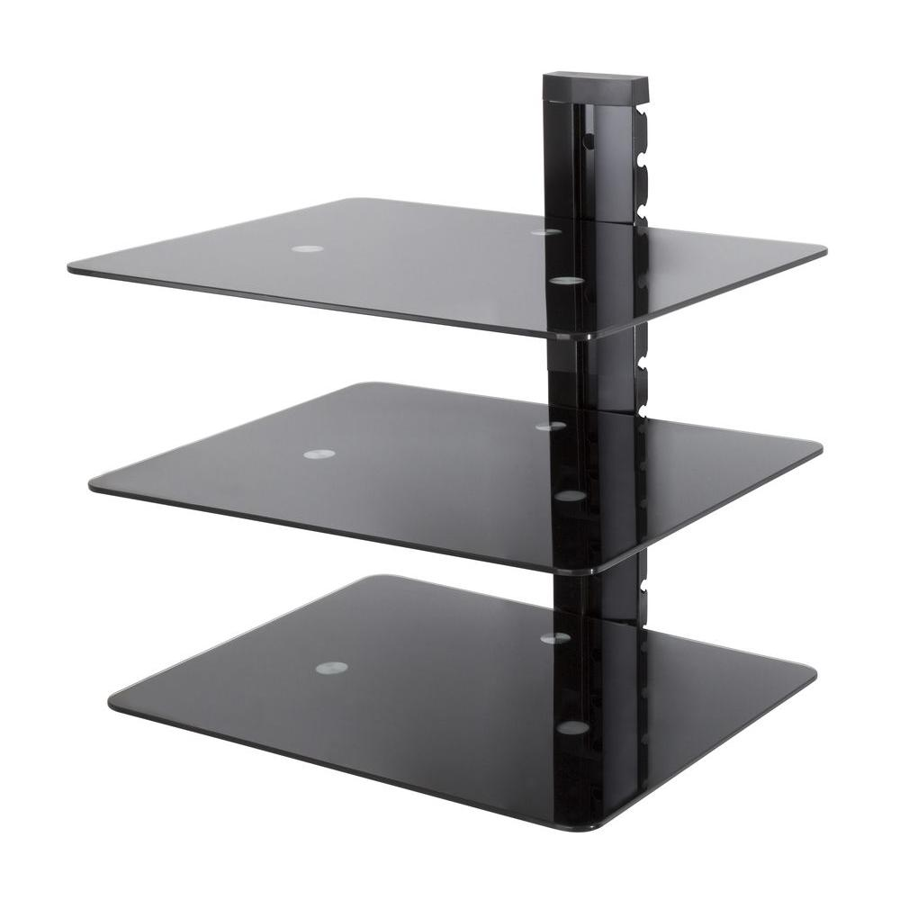 Wall Mounted AV Component Shelving Bracket, 3 Shelf, Black