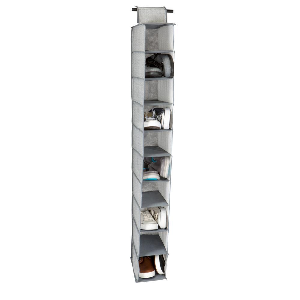 10-Shelf Shoe Organizer in Grey
