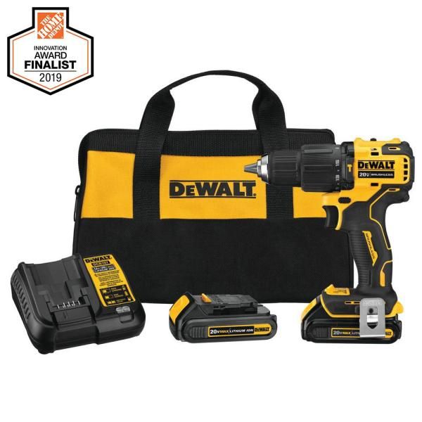 DEWALT ATOMIC 20-Volt MAX Lithium-Ion Cordless Brushless 1/2 in. Compact Hammer Drill Kit