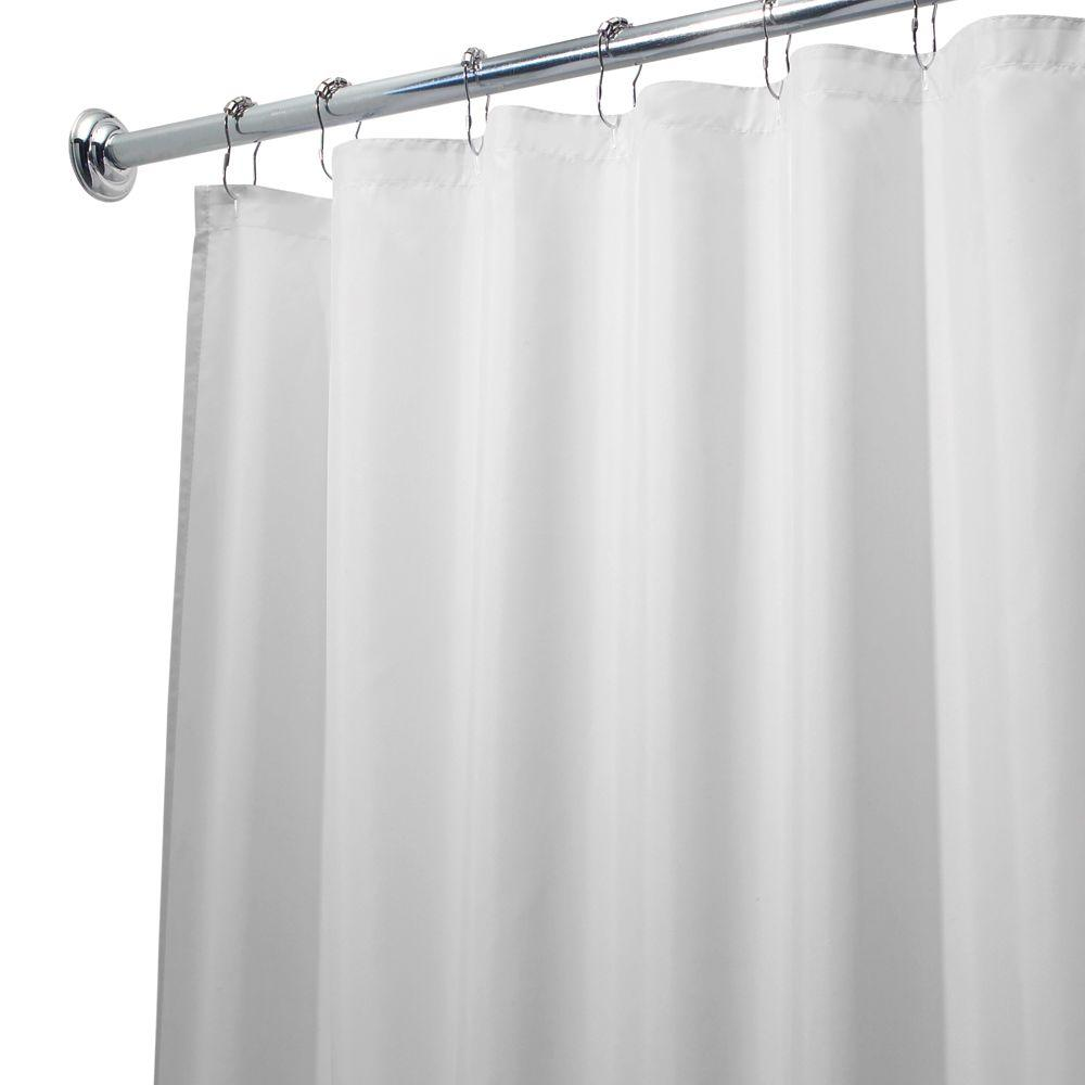 Poly Waterproof Shower Curtain Liner In White