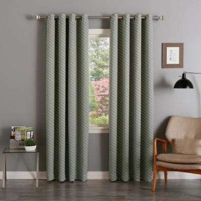84 in. L Room Darkening Diagonal Stripe Curtain Panel in Dove (2-Pack)