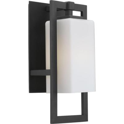 Jack Collection 1-Light Black 13.6 in. Outdoor Wall Lantern Sconce
