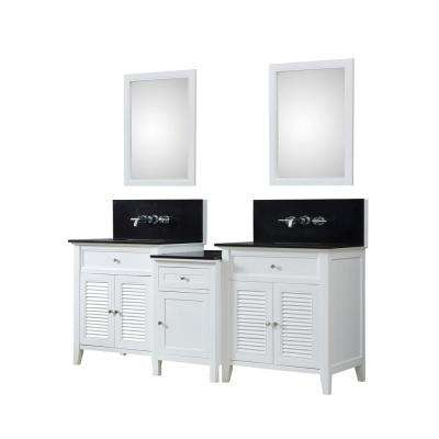 Premium Hybrid Bath Makeup 82 in. W Vanity in White with Granite Vanity Top in Black with White Basin and Mirrors
