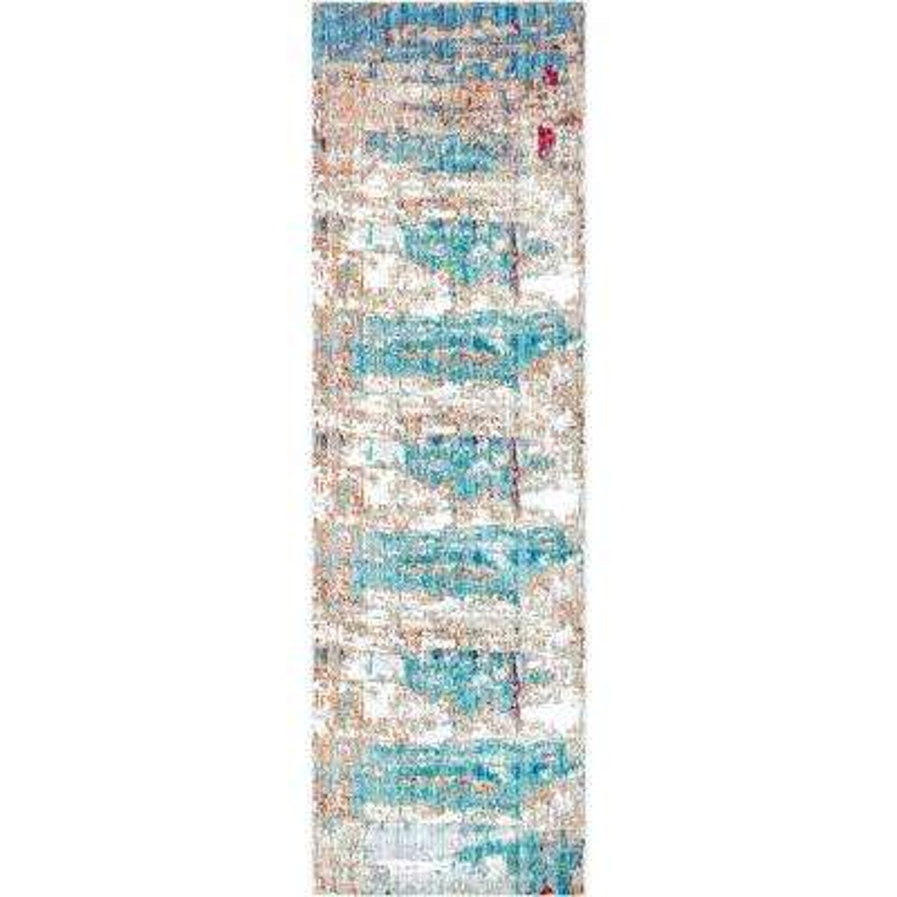 Abstract Delisa Blue 3 ft. x 8 ft. Runner Rug