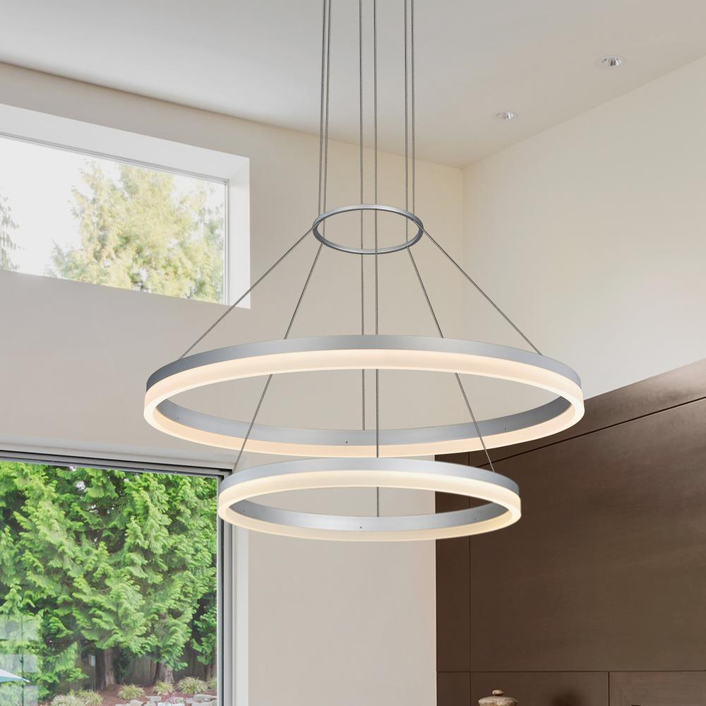 Modern Led Integrated Ceiling Lights Chandeliers Panel: VONN Lighting Tania Duo 65-Watt Silver Integrated LED