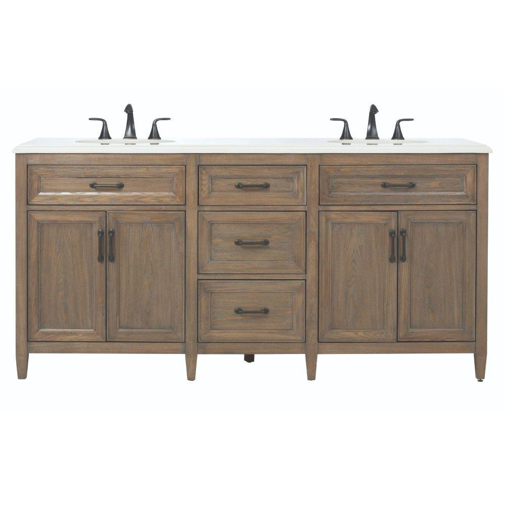 Home decorators collection walden 71 in w x 22 in d double bath vanity in driftwood grey with - Double bathroom vanities granite tops ...