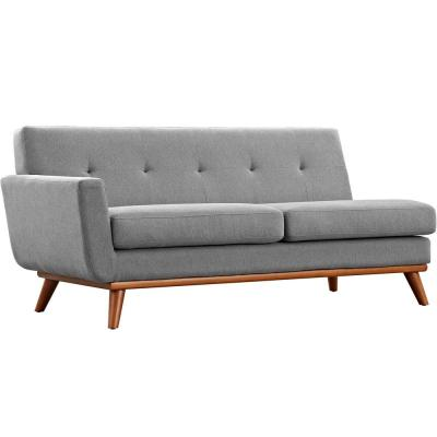 Engage 73 in. Expectation Gray Polyester 2-Seater Left-Facing Loveseat with Wood Legs