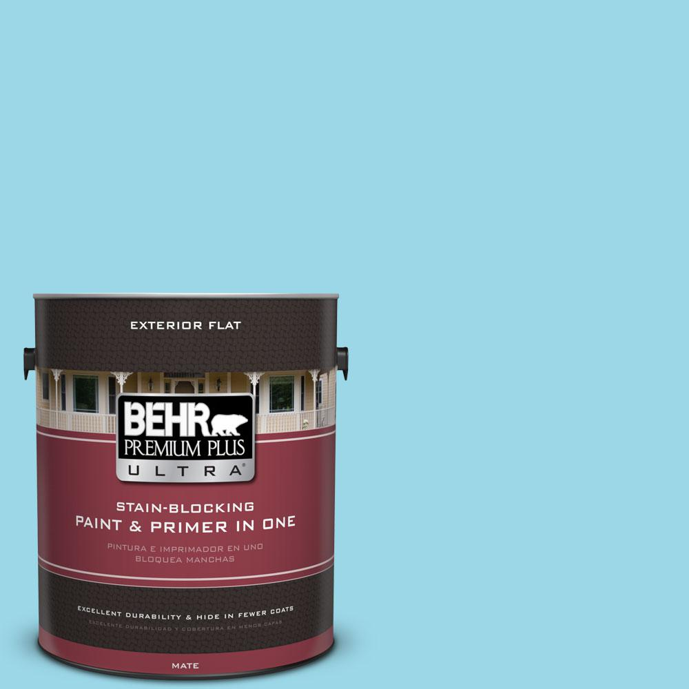 BEHR Premium Plus Ultra 1-gal. #P480-3 Cool Water Lake Flat Exterior Paint