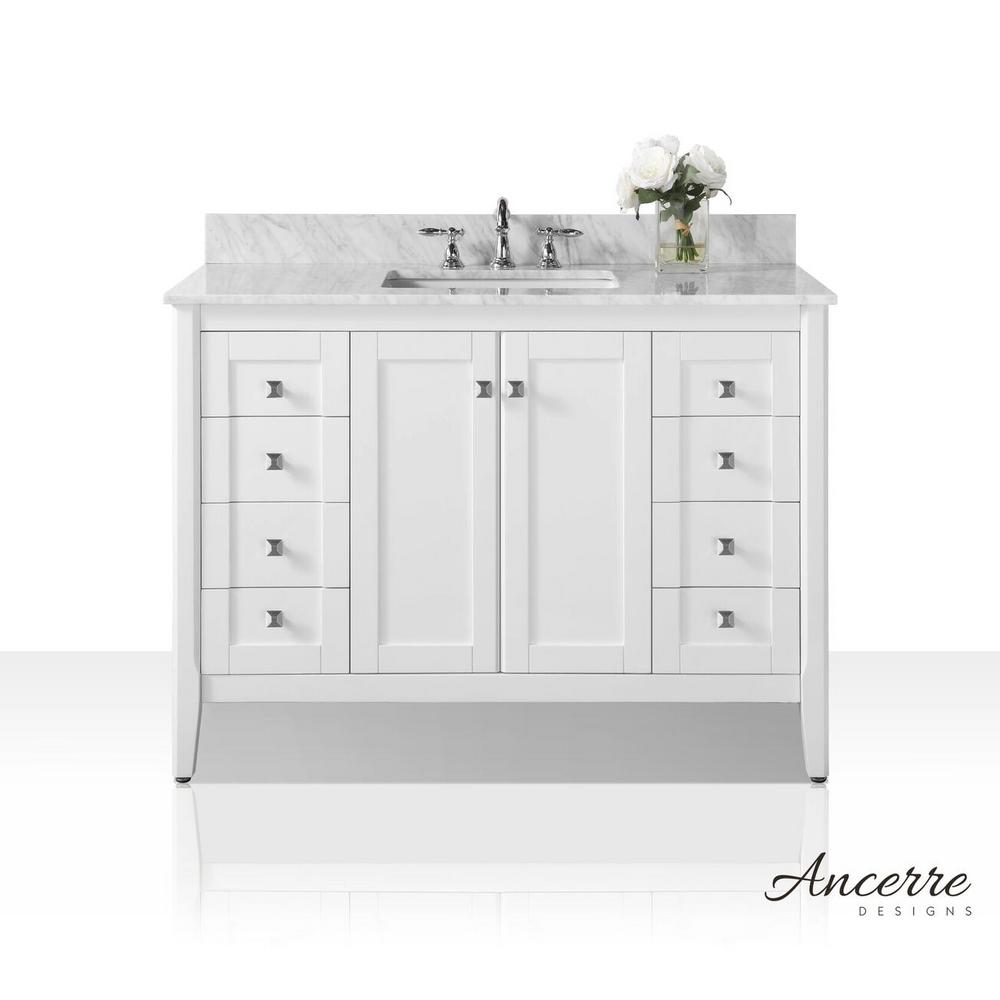 Ancerre Designs Shelton 48 in. W x 22 in. D Vanity in White with Marble Vanity Top in Carrara White with White Basin