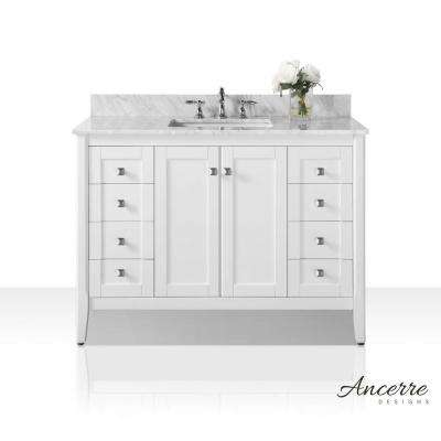 Shelton 48 in. W x 22 in. D Vanity in White with Marble Vanity Top in Carrara White with White Basin