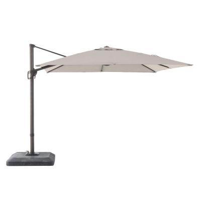 10 ft. x 10 ft. Commercial Aluminum Square Offset Cantilever Outdoor Patio Umbrella in Sunbrella Cast Shale