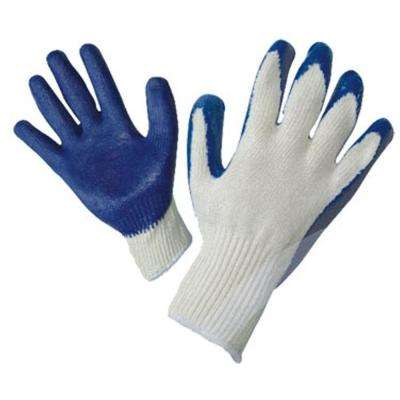Large String Knit Palm Latex Dipped Gloves in Blue (300-Case)