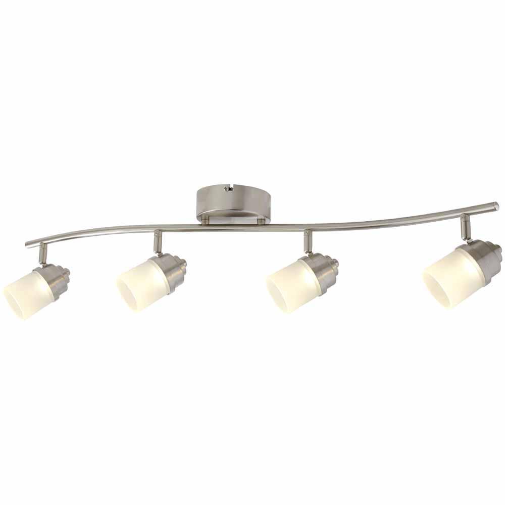 2 Ft Track Lighting Kit: Hampton Bay 2.6 Ft. 4-Light Brushed Nickel Integrated LED