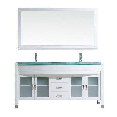 Ava 62.6 in. W x 22 in. D Vanity in White with Glass Vanity Top with Aqua Basin and Mirror