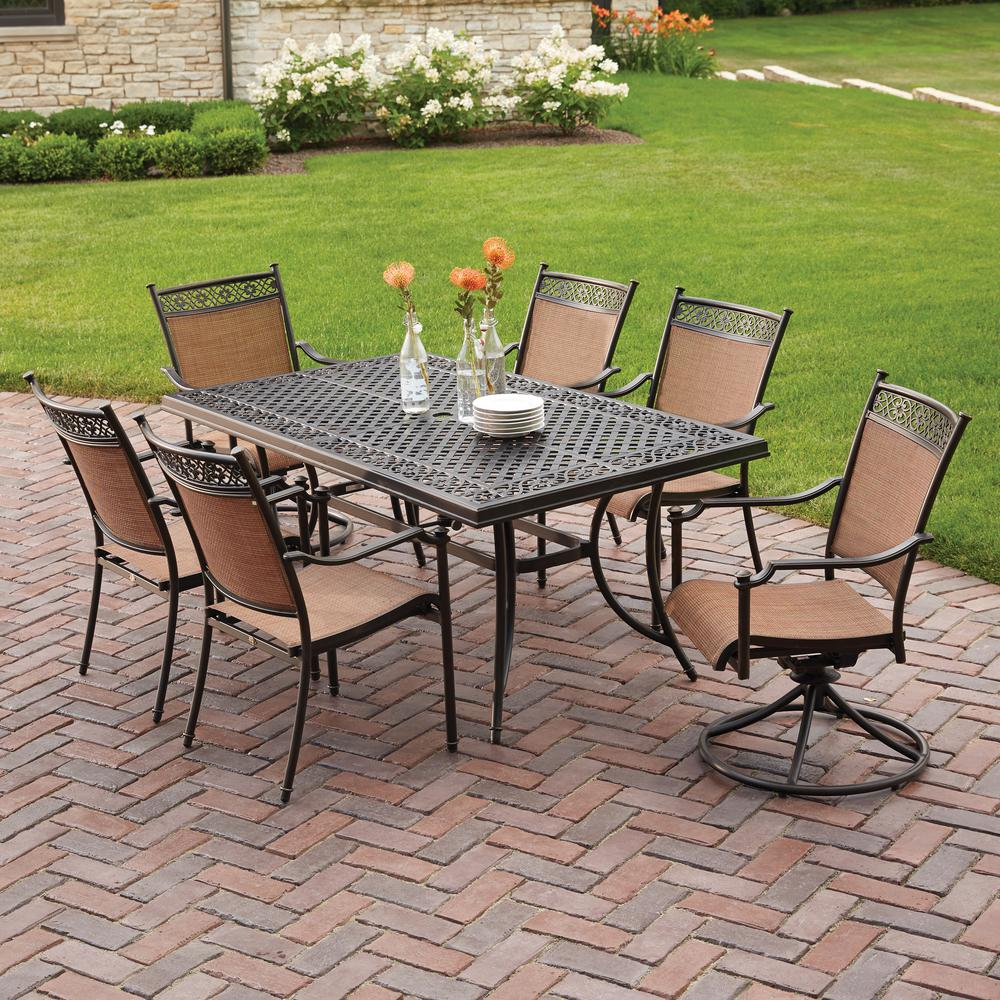 hampton bay niles park 7 piece sling patio dining set - Cast Aluminum Patio Furniture