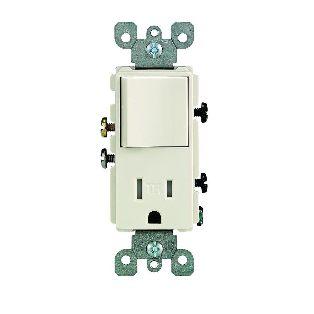 leviton decora 15 amp tamper-resistant combination switch/outlet, light  almond