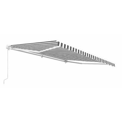 20 ft. Motorized Retractable Awning (120 in. Projection) in Grey and White Striped