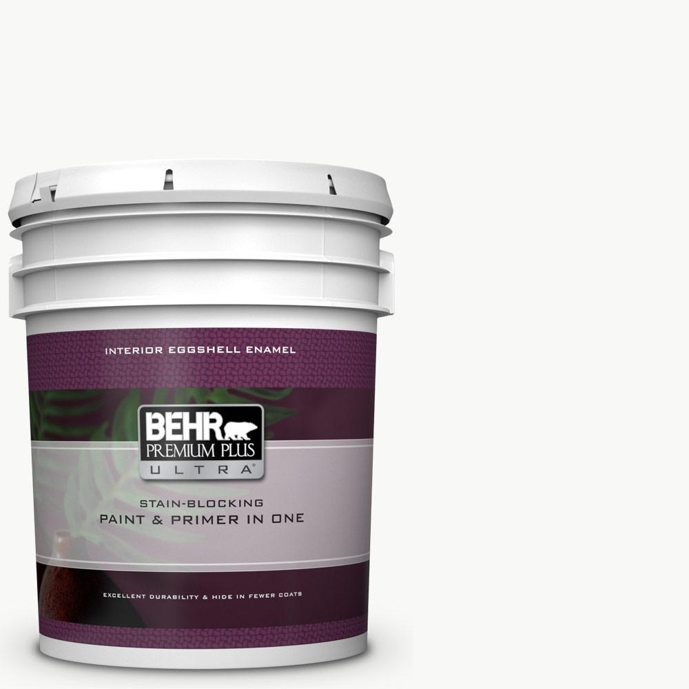 BEHR ULTRA 5 gal. Ultra Pure White Eggshell Enamel Interior Paint and Primer in One