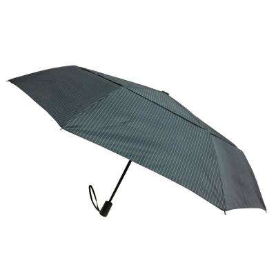 44 in. Arc Windguard Travel Umbrella in Navy Stripe