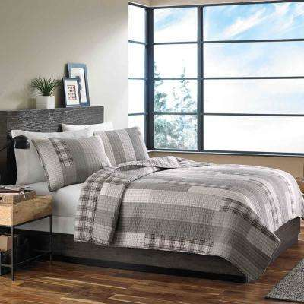 Fairview Grey Twin Quilt Set (2-Piece)