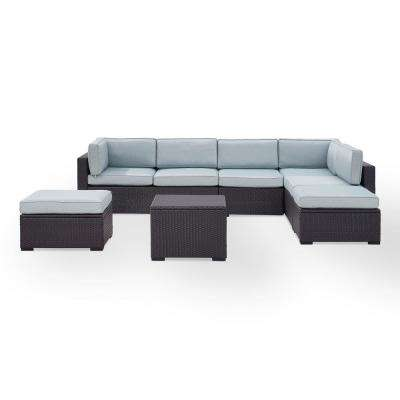 Biscayne 7-Person Wicker Outdoor Seating Set with Mist Cushions - 2 Loveseats, 1 Armless Chair, Coffee Table, 2 Ottomans