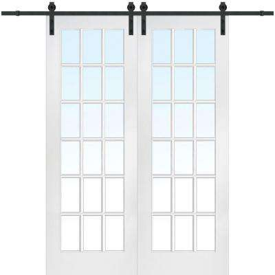 72 In. X 96 In. Primed 18 Lite Door With Barn Door Hardware