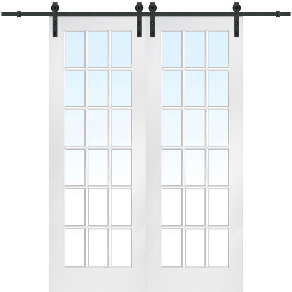 72 In X 96 Primed 18 Lite Door With Barn Hardware