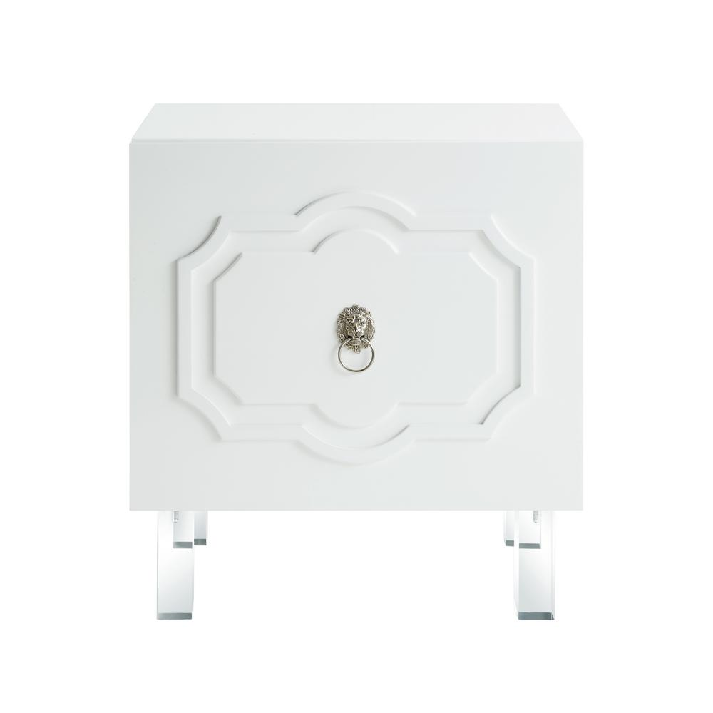 Gretchen Lacquered White End Table Lucite Leg Nightstand