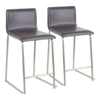 Mara 26 in. Grey Faux Leather and Stainless Steel Counter Stool (Set of 2)