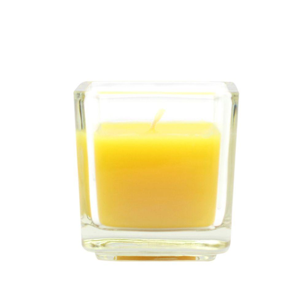 2 in. Yellow Citronella Square Glass Votive Candles (12-Box), Yellows / Golds