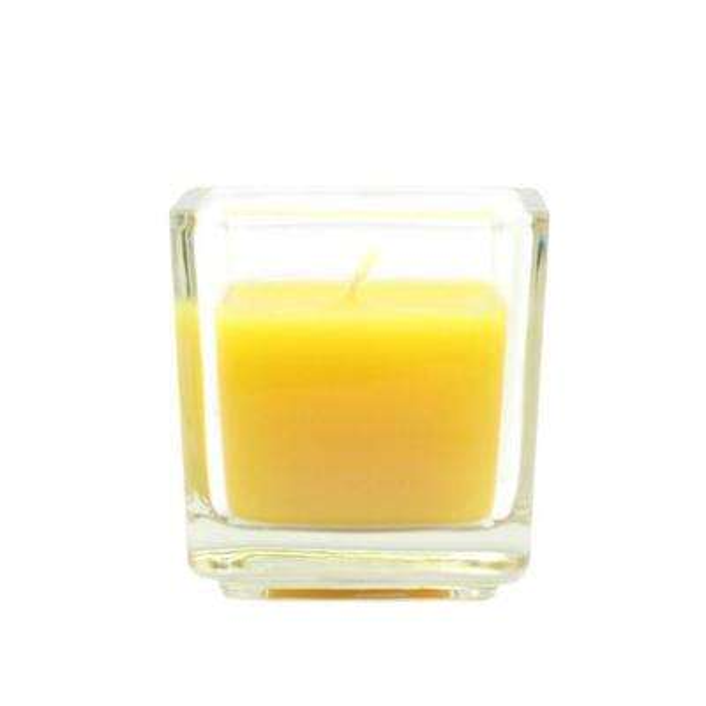 2 in. Yellow Citronella Square Glass Votive Candles (12-Box)