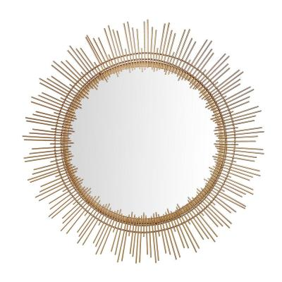 Medium Sunburst Gold Modern Accent Mirror (31 in. Diameter)