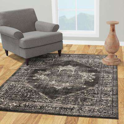 Jasmin Collection Charcoal Gray and Ivory  2 ft. 7 in. x 9 ft. 10 in. Oriental Medallion Runner Rug