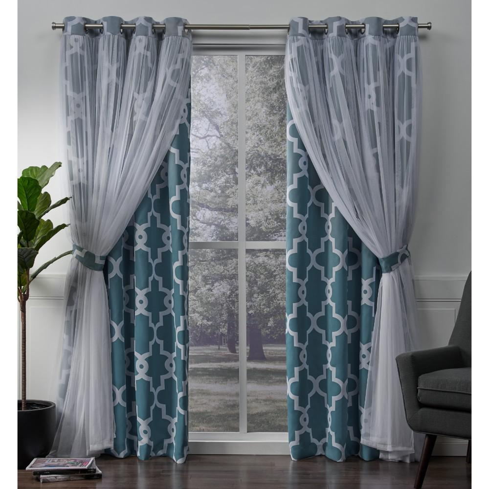 Alegra Turquoise Layered Gated Blackout And Sheer Grommet