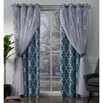 Alegra 52 in. W x 96 in. L Layered Sheer Blackout Grommet Top Curtain Panel in Turquoise (2 Panels)