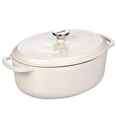 7 Qt. Oval Enamel Cast Iron Dutch Oven in White Oyster