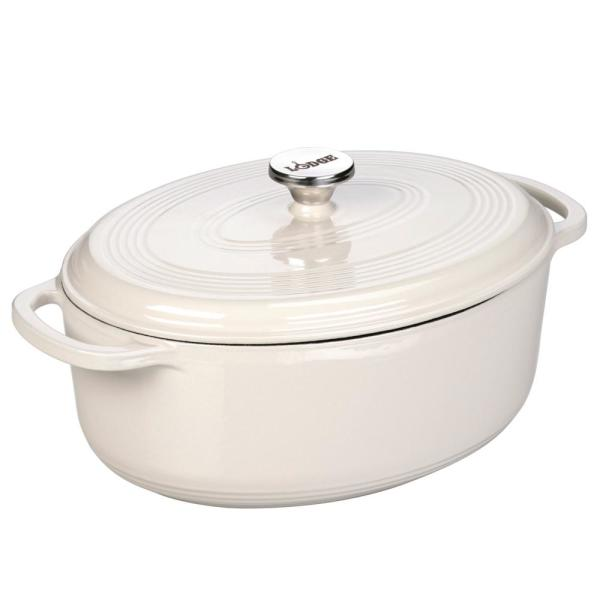 Lodge 7 Qt. Oval Enamel Cast Iron Dutch Oven in White