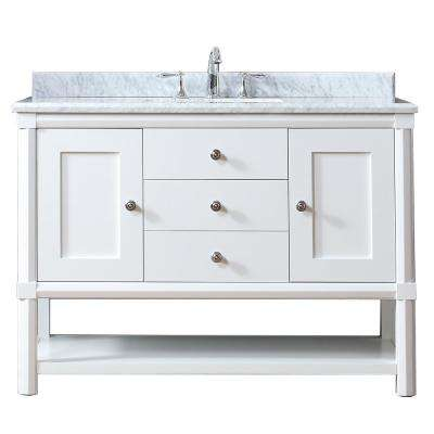 Sutton 48 in. W x 22 in. D Vanity in Bright White with Marble Vanity Top in White/Grey with White Basin