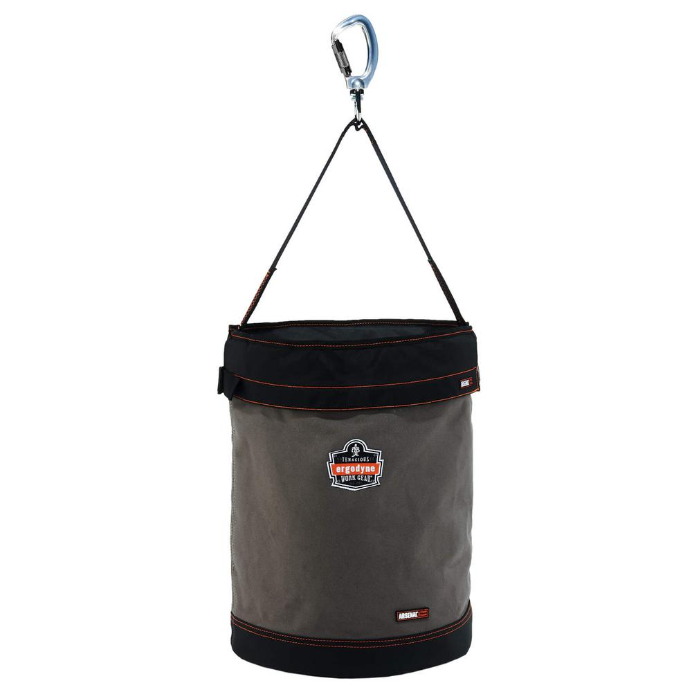 Arsenal 16 in. Tool Bucket with Top in Gray Canvas