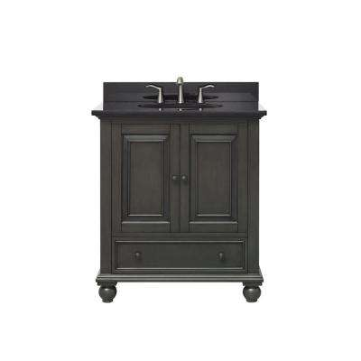 Thompson 31 in. W x 22 in. D x 35 in. H Vanity in Charcoal Glaze with Granite Vanity Top in Black with White Basin