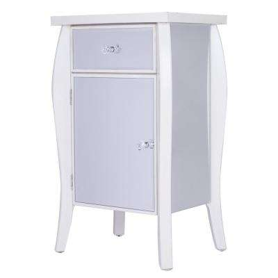 Shelly Assembled 24.75 in. x 24.75 in. x 19 in. Antique White Accent Storage Table with 1 Drawer and 1 Door