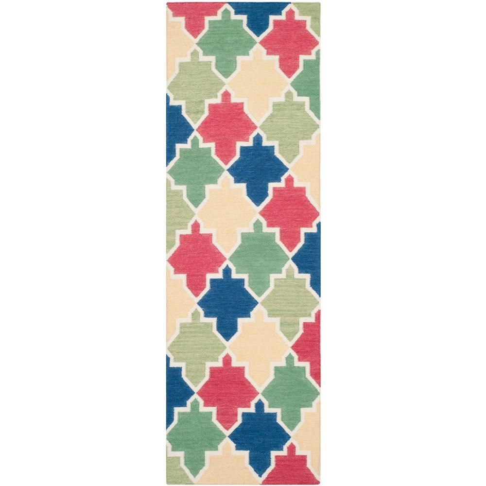 Dhurries Blue/Multi 2 ft. 6 in. x 8 ft. Runner