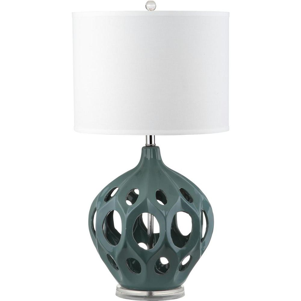Safavieh Regina 29 in. Teal Ceramic Table Lamp