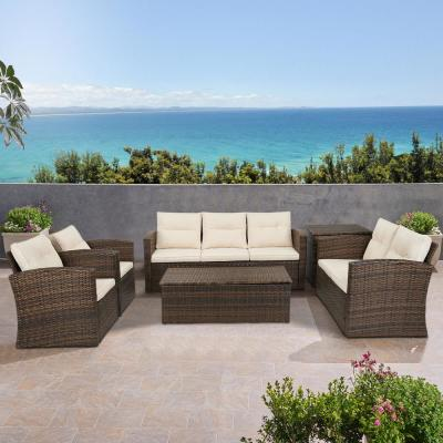 6-Pieces Wicker Patio Conversation Set 7-People Rattan Sofa Seating and Coffee Table Group Outdoor Set w/ Beige Cushions