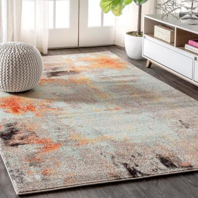 Contemporary Pop Modern Abstract Vintage Cream/Orange 8 ft. x 10 ft. Area Rug