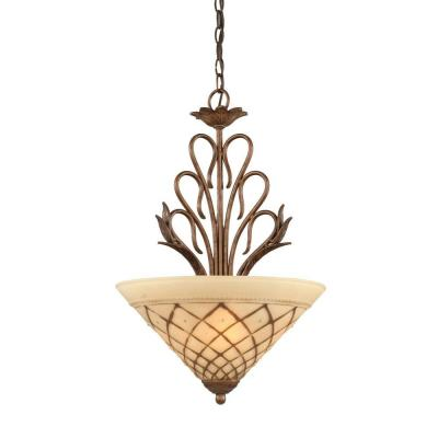 Abney 3-Light Bronze Chandelier with Chocolate Icing Glass