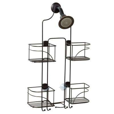 Expandable Shower Caddy for Hand Held Shower or Tall Bottles in Bronze